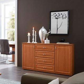 Stralsunder Jasmund Sideboard C15063 dreiteilige Kommode für Wohnzimmer oder Esszimmer mit zwei Türen und vier Schubkästen Dekor und Griffe wählbar - Vorschau 2