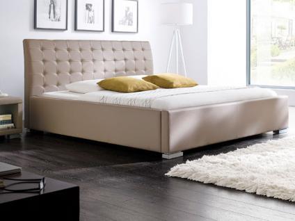Meise Möbel ISA-COMFORT Polsterbett mit Kunstlederbezug in schwarz weiß braun oder muddy mit gestepptem Kopfteil und Metallfüßen Liegefläche wählbar - Vorschau 4