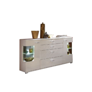Wohn-Concept Alibaba Sideboard 40 88 WW 21 moderne Anrichte für Ihr Wohnzimmer oder Esszimmer mit zwei Türen mit Glasausschnitten und vier Schubkästen Kommode in Weiß Hochglanz und Weiß matt mit Absetzungen in Terra Grau Hochglanz MDF mit Diamant-Effekt B