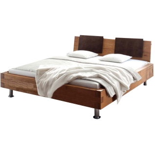 Hasena Oak-Wild Bett bestehend aus Bettrahmen Pilatus 23 Holzkopfteil Sion in Wildeiche natur und Metallfüsse Grado in chrom Liegefläche ca. 180x200 cm
