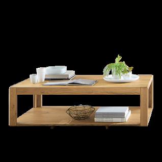 Wöstmann Sapio Couchtisch 9500 Wildeiche Massivholz soft gebürstet mit Ablage für Wohnzimmer Größe wählbar