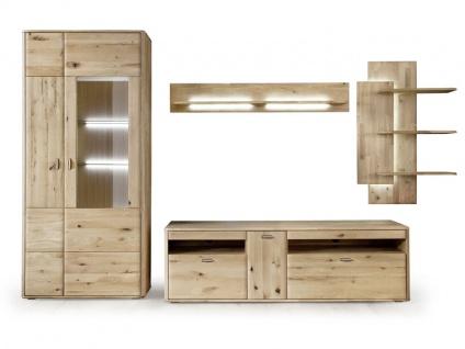 MCA Furniture Wohnwand Kombination 4 Ravello 4-teilig Vitrine, Wandregal, Wandpaneel und TV Element für Ihr Wohnzimmer oder Esszimmer