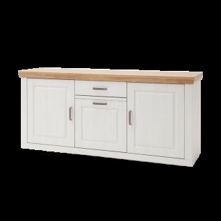 MCA Furniture Brixen Sideboard T01 für Ihr Wohnzimmer oder Esszimmer Kommode im modernen Landhausstil mit drei Türen und einem Schubkasten Anrichte in Pinie Aurelio Optik mit Absetzungen in Grandson oak Nachbildung