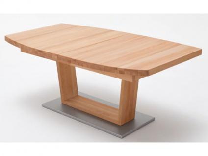 MCA furniture CAN14B_Cantania B oder CAN18B_Cantania B Esstisch Bootsform mit durchgehender Lamelle und V-Fußgestell Tischplatte aus Massivholz ausziehbar in drei Holzausführungen und in zwei verschiedenen Größen wählbar