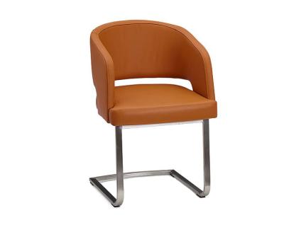 Schösswender Moringa Freischwinger P600 Stuhl mit gepolstertem Sitz und gepolsterter Lehne Polsterstuhl Gestell in Edelstahl gebürstet mit wählbarem Bezug