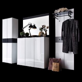 Wittenbreder Novara Garderobenkombination Nr. 11 komplette Garderobe für Ihren Flur und Eingangsbereich 4-teilige Vorschlagskombination in Glas Weiß und Glas Anthrazit Griffe und Metallteile in Schwarz