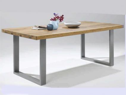 ELFO Esstisch in verschiedenen Größen, Speisezimmertisch massiv, Wildeiche geölt, edelstahlfarbene Metallfüße, Größe wählbar, für Speisezimmer oder Wohnzimmer