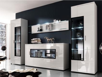 MCA Furniture Wohnwand Corano HW101 W04 Wohnkombination IV - 4-teilig - 2x Vitrine, Wandpaneel und Sideboard, Beleuchtung wählbar