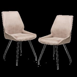 Habufa Polsterstuhl Scott im 2er Set mit Griff rückseitig Bezugsfarbe Taupe Metallgestell 4-Fuß-Stuhl für Ihr Esszimmer oder Ihre Küche