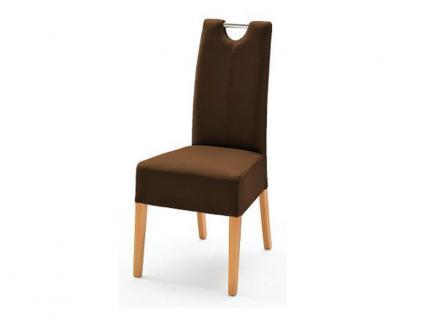 MCA Direkt Stuhl Enya Bezug Argentina in der Farbe braun 2er Set Polsterstuhl für Wohnzimmer und Esszimmer Ausführung 4 Fuß Massivholzgestell und Chromgriff
