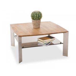 mca furniture couchtisch nelia 58865az7 tischplatte asteiche massiv mit ablageboden in sicherheitsglas bronze farbig und