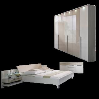 Rauch Steffen Anja Plus Schlafzimmer 4- teilig bestehend aus Futonbett mit Paneel- Set Kombikommode und Drehtürenschrank mit passepartout- Rahmen inklusive Beleuchtung Liegefläche wählbar