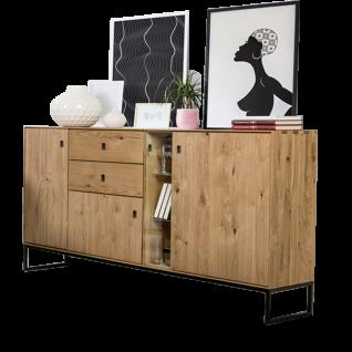 Dkk Klose Kollektion Kastenmöbelprogramm K32-1 Sideboard mit 2 Schubkästen 3 Holztüren und einer Glastür Holzart und Fußausführung wählbar