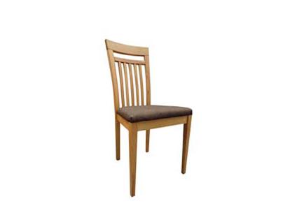 DKK Klose gepolsterter Holzstuhl S27 in wählbaren Holzfarbtönen für Wohnzimmer oder Küche Polsterung im Sitz und Holzsprossen im Rücken wählbare Stoff- und Lederbezüge