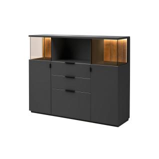 Quadrato Modena Highboard 48 in wählbarer Lackfarbe mit Altholz-Rückwand und zwei Türen drei Schubkästen und einem offenen Fach - Vorschau 2