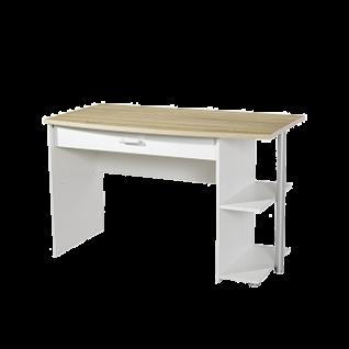 Rauch Packs Point Schreibtisch mit 1 Schubkasten und Regal Farbausführung alpinweiß mit Absetzung Dekor- Druck Eiche Sonoma