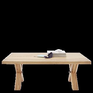 MCA Furniture Couchtisch Totola 58715EIZ aus Zerreiche Massivholz geölt und Beinen mit Rollen in X-Form