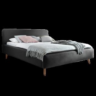 Meise Möbel Polsterbett Mattis mit Stoffbezug Aspen in der Farbe anthrazit mit Holzfüßen Massivholz eichefarbig und glattem Kopfteil Liegefläche wählbar