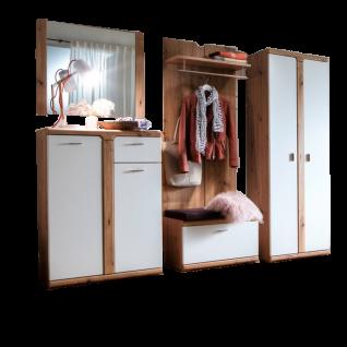 MCA furniture Torino 5-teilige Garderoben-Kombi TOR78K01 Front Weiß matt tiefgezogen Absetzung Balkeneiche tiefgezogen Korpus Balkeneiche Melamin Nachbildung