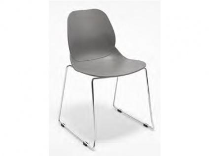 Niehoff Sushi Kunststoffdesignstuhl 4er-Set aus der Young Collection mit Kufengestell Rundrohr verchromt Schalenstuhl 2501 oder Schalensessel 2502 Stuhl für Esszimmer Farbe wählbar
