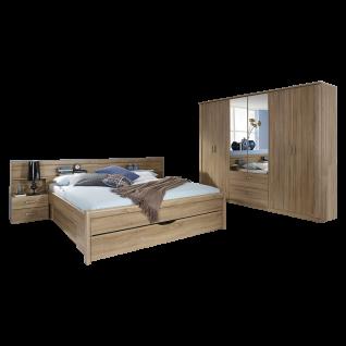 Rauch Packs Cham Schlafzimmer 2-teilig bestehend aus Bettanlage mit 3 Sockelblenden 2 Nachttischen sowie 6-türigen Drehtürenschrank mit 2 Spiegeltüren und 2 Schubkästen Farbausführung Dekor-Druck Eiche Sonoma