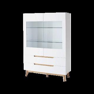 MCA furniture Cervo Vitrine 48646WE5 weiß matt lackiert für ihr Wohnzimmer mit 2 Türen und 2 Schubkästen Absetzung Asteiche furniertes Massivholz Beleuchtung wählbar