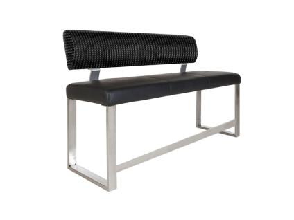 MWA Aktuell Hochbank NEO mit Rückenlehne für Ihr Esszimmer Sitzbank mit wählbarem Bezug und wählbarer Gestell-Ausführung