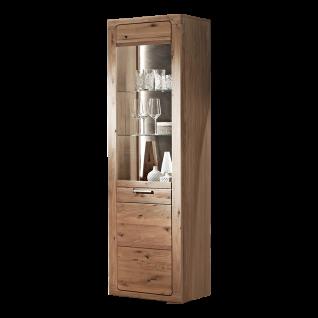Ideal-Möbel Maderno Vitrine Type 09 mit Front aus Alteiche Lamelle Massivholz geölt Standvitrine mit Glastür ideal für Ihr Wohnzimmer oder Esszimmer