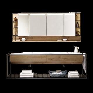 Voglauer V-Quell Badezimmer-Einrichtung Badkombination mit Doppelwaschtischunterschrank und Spiegelschrank mit Regal Korpus und Front Alteiche rustiko echtholzfurniert