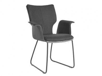 Bert Plantagie Stuhl Joni 731C Komfort mit Uni-Mattenpolsterung Schlittengestell und geschlossenen gepolsterten Armlehnen Stuhl für Esszimmer Esszimmerstuhl Gestellausführung und Bezug in Leder oder Stoff wählbar