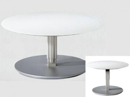Vierhaus Couchtisch 1866 runde Glas-Tischplatte weiß matt höhenverstellbar mit ILse-Button-Tele-Lift Mechanik
