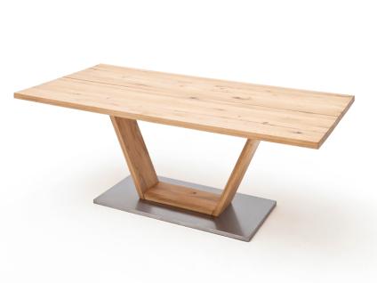 MCA Greta Esstisch in Balkeneiche Massivholz geölt mit geteilter Tischplatte gerade Kanten und V-Fußgestell in verschiedenene Größen wählbar