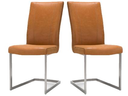 Habufa Sono Freischwinger 2er Set Stuhl mit Edelstahlgestell viereckig für Ihr Esszimmer Schwingstuhl in Echtlederbezug oder Ledermix Handgriff an der Rückenlehne wählbar