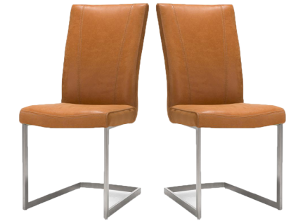 Habufa Sono Freischwinger 2er Set Stuhl mit Edelstahlgestell viereckig für Ihr Esszimmer Schwingstuhl mit wählbarem Echtlederbezug Handgriff an der Rückenlehne wählbar