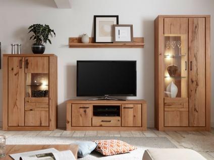 Quadrato Faro Wohnkombination 4064F9 teilmassive 4-teilige Wohnwand in Rissbuche für Wohnzimmer mit 2 Vitrinen 1 Lowboard und 1 Wandboard Front Massivholz Korpus furniert Beleuchtung wählbar