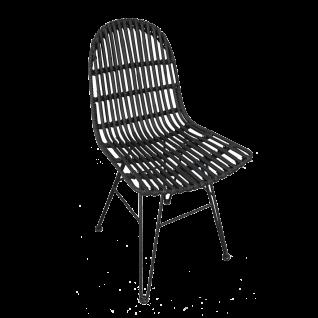 Sit Möbel RATTAN Stuhl Sitzschale Rattan schwarz Korbgeflecht Metallgestell antikschwarz