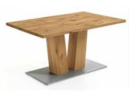 Niehoff Tisch 4363 passend zu Banksystem Ronja Platte Charakter Eiche massiv geölt mit V Säule und Bodenplatte Metall Optik für Esszimmer