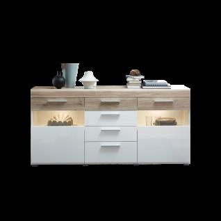 Wohn-Concept Universo Sideboard 40 67 WH 21 moderne Kommode mit zwei Türen und vier Schubkästen in San Remo hell Nachbildung und Weiß matt und Hochglanz inkl. LED-Beleuchtung