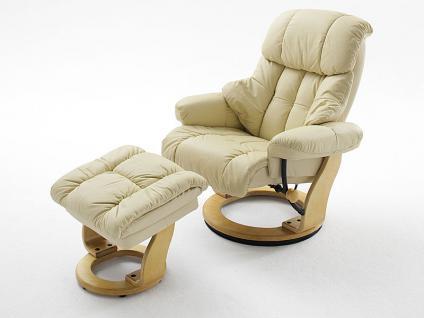 MCA furniture Calgary Relaxsessel 64023 Relaxer aus Leder/PVC creme incl. Hocker Gestell und Drehteller wählbar