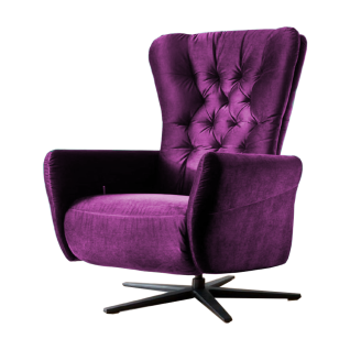 Candy Funktionssessel Sixty Relax mit manueller Verstellung Größe M im Bezug Velvet ultraviolett aus der Stoffgruppe 8 auf schwarz mattem Sternfuß - Vorschau 1
