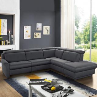 Himolla Ecksofa Tangram Motion 9701 Sofa in L-Form mit manuell verstellbaren Kopfstützen und aufklappbaren Hockerabschluss grauer Stoffbezug PG 14 Bodyflux7 teer Rücken unecht - Vorschau 2