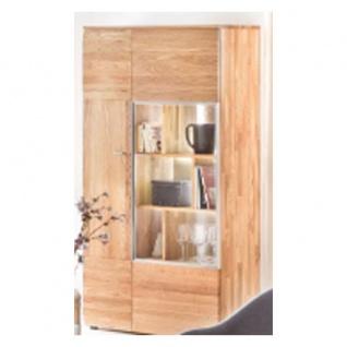 Standard Furniture Nizza Vitrinenschrank groß rechts Massivholz Kernbuche geölt oder Eiche natur/bianco geölt ideal für Ihr Wohnzimmer oder Esszimmer