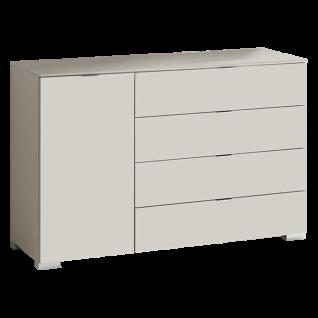 Staud Includo Kombikommode breit mit 1 Tür und 4 Schubkästen Front und Korpus Dekor weiß Grifffarbe wählbar