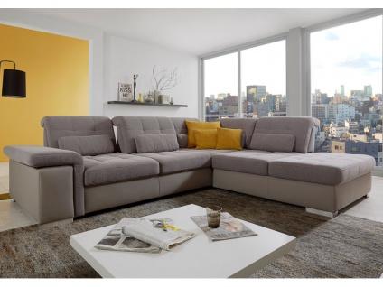 Poco San Marino Eckkombination bestehend aus 2-Sitzer Spitzecke und Abschlußteil Couch inkl. Schwenkrücken spiegelverkehrt lieferbar, Bezug Kopfteilverstellung Armteilverstellung wählbar