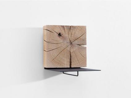 Hartmann Naturstücke Wandscheibe als Wand-Garderobe 1063 mit Metallablage und Garderobenhaken anthrazit in Riffbuche oder Riffeiche Massivholz gebürstet wählbar Accessoire für Garderobe