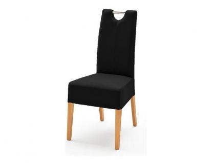 MCA Direkt Stuhl Enya im Lederlook schwarz 2er Set Polsterstuhl für Wohnzimmer und Esszimmer Ausführung 4 Fuß Massivholzgestell und Chromgriff