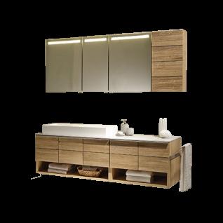 Voglauer V-Montana Badezimmer-Einrichtung Vorschlagskombination 63 Korpus und Abdeckplatten Tischlerplatte echtholzfurniert Front Massivholz inklusive Beleuchtung