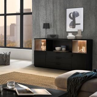 Quadrato Modena Sideboard 49-B in wählbarer Lackfarbe mit Altholz-Rückwand und zwei Türen drei Schubkästen und einem offenen Fach - Vorschau 4