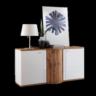 Ideal-Möbel Magic Sideboard 51 mit Drehkarussel und zwei Türen Korpus Weiß Front Weiß Hochglanz Absetzung Wotan Eiche Nachbildung