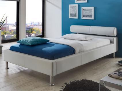 Meise Möbel ANELLO Polsterbett mit Kunstlederbezug in weiß schwarz oder braun Kopfteil mit Kopfteilrolle Metallfüße in Chromoptik Liegefläche wählbar - Vorschau 2